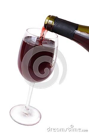 Wine flows in  wine glass