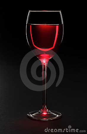Wine glass on black