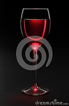Wine glass on black