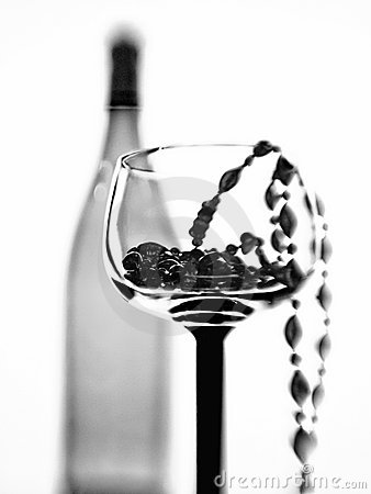 Wine Glass,Bottle and Beads Abstract