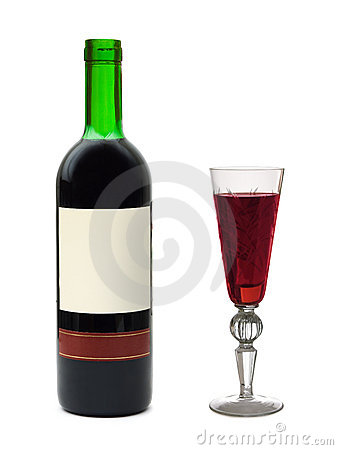 Wine glass and bottle with empty label