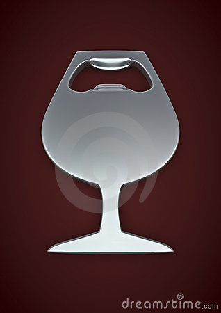 Wine glass bottle opener