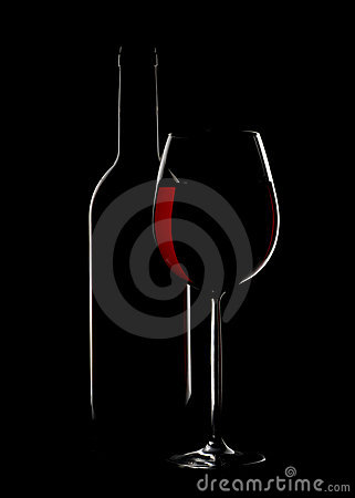 Wine glass and bottle silhoutte