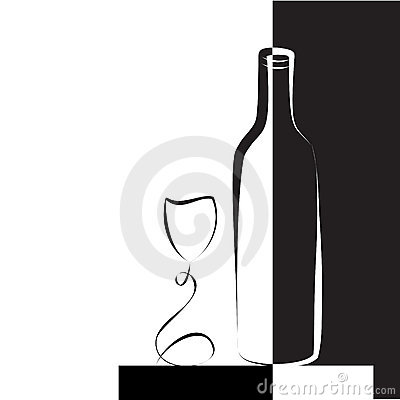 Wine glass and bottle for wine