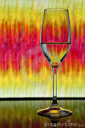 Wine glass with colorful background