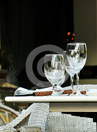 Wine glass and fine dining outdoor