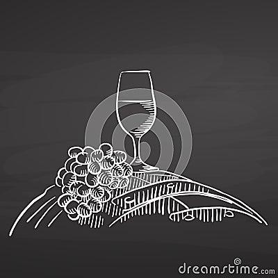 Wine glass and grapes on barrel. Chalk on chalkboard Vector Illustration