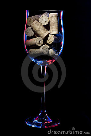 Wine glass object  in low key style with cork.