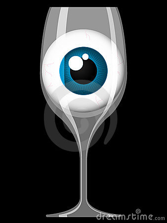 Wine glass with staring eye