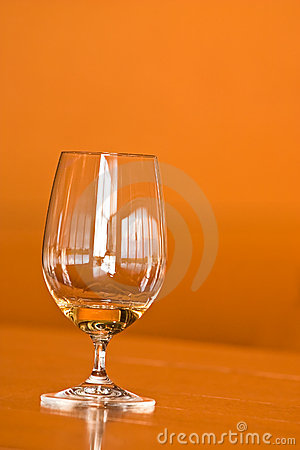 Wine glass with window reflections