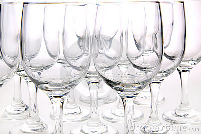 Wine Glasses Against White Background