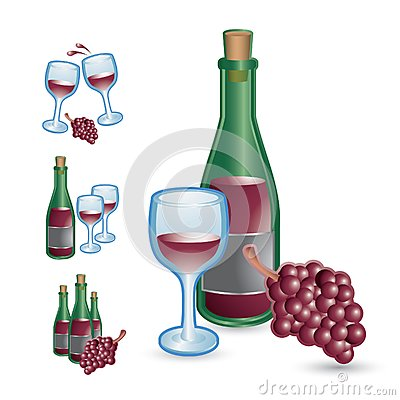 Wine glasses, bottles, and grapes
