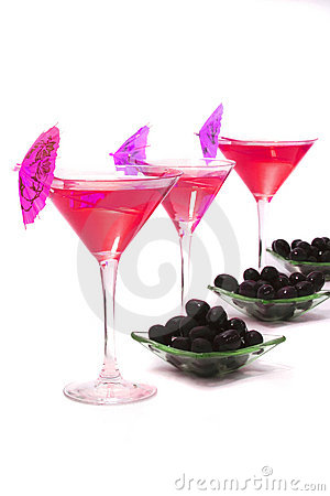 Wine glasses with cocktail