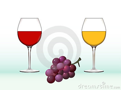 Wine glasses and grape
