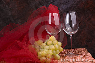 Wine glasses with grapes