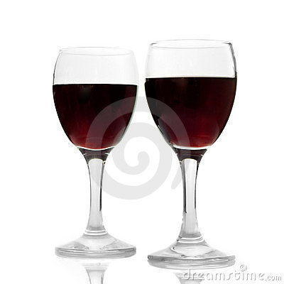 Wine glasses isolated on white