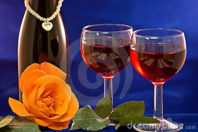 Wine Glasses And Rose Royalty Free Stock Photos - Image: 4024388