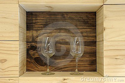 Wine Glasses on a Shelf