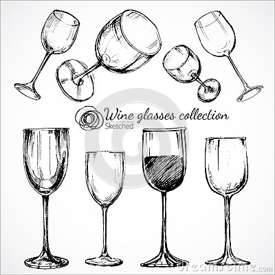 Free Wine Glasses - Sketch Illustration Stock Photos - 49629283