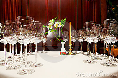 Wine glasses on table in restaurant