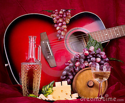 Wine, grape, cheese and guitar