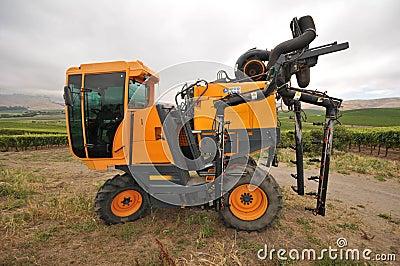 Wine grape vine sprayer equipment in a field