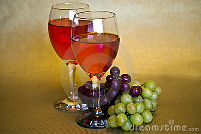 still life of wine and grapes