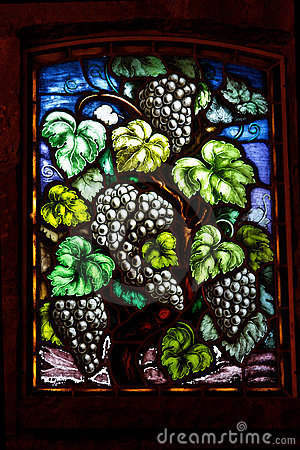 Wine Grapes Glass Window