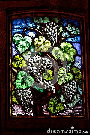 Wine Grapes Glass Window