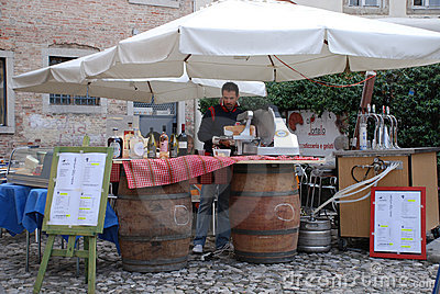 Wine and Ham Stall Editorial Stock Image