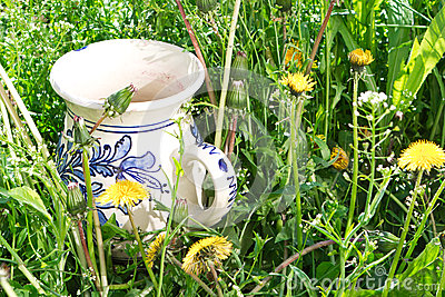 Wine jug in rustic style in grass Stock Photo