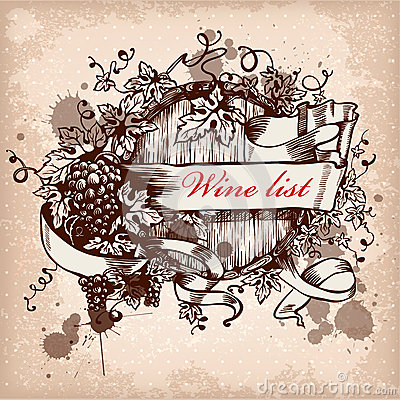 Wine label  with grapes on grunge background