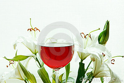Wine and lilies