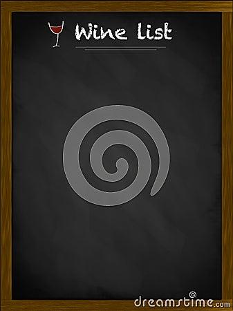 Wine list on a framed blackboard