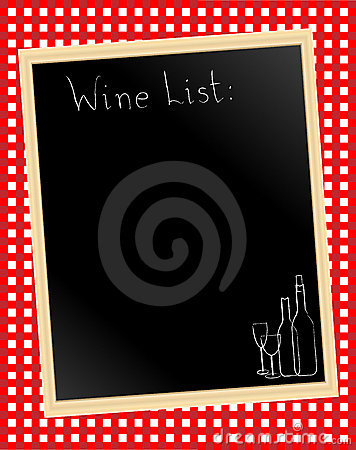 Wine list on gingham
