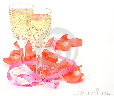 Wine and petals of roses
