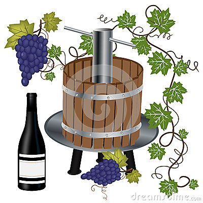 Wine press with bottle and grapes