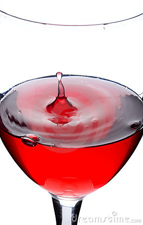 Wine from red currant with splash from drop