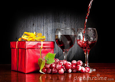 Wine and red present