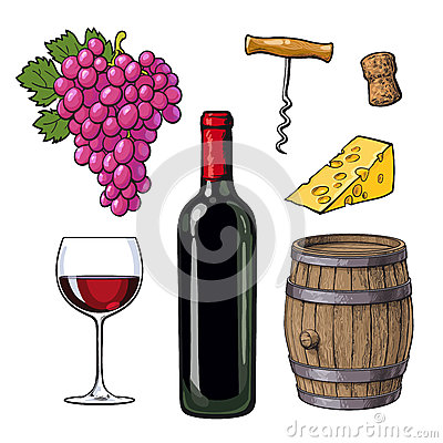 Free Wine Set Of Bottle, Glass, Barrel, Grapes, Cheese, Cork, Corkscrew Stock Photography - 80958252