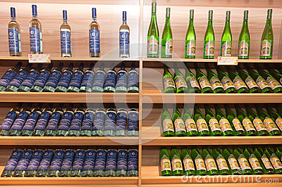 Wine shelves in shop Editorial Stock Photo
