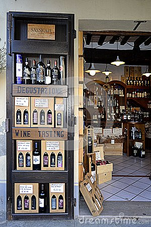 Wine shop in Tuscany, Italy