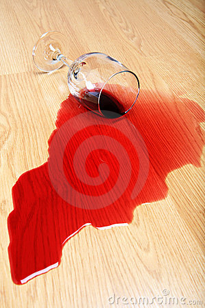 Wine spill on hardwood floor