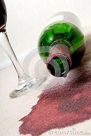 Wine spilt.
