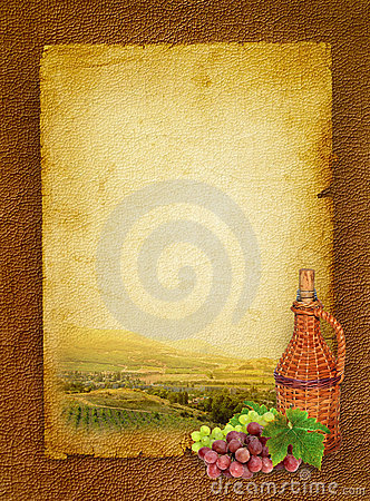 Wine still life and vineyard