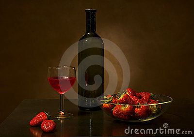 Wine and strawberry