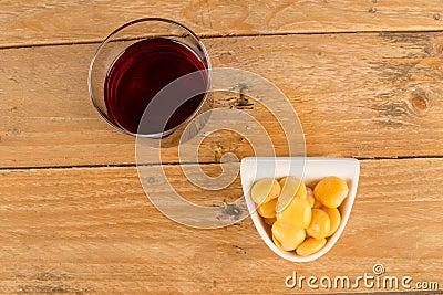 Wine and tapa high angle view