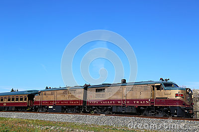 Wine train in Napa. It is an excursion train that runs between Napa and St. Helena, California Editorial Photography
