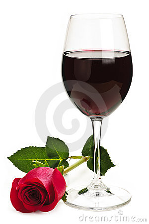 Free Wine With Red Rose Stock Photo - 12733000