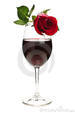 Free Wine With Red Rose Royalty Free Stock Images - 12733009